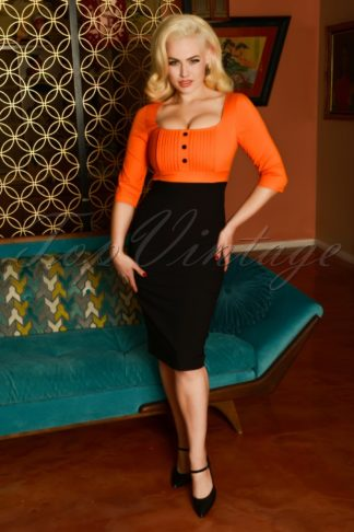50s Nova Pencil Dress in Black and Orange