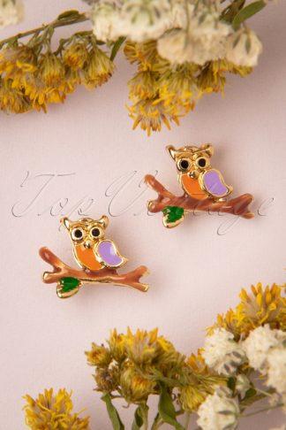 50s Owl Stud Earrings in Gold