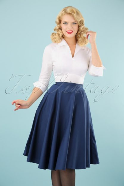 50s Paula Swing Skirt in Navy