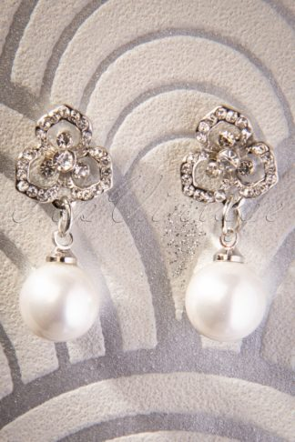 50s Pearl Bloom Drop Earrings in Silver