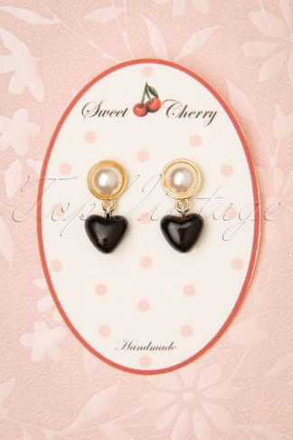 50s Pearl Heart Earrings in Black and Gold