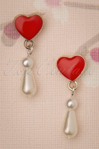 50s Pearl Love Drop Earrings in Ivory