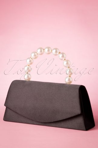 50s Pearl Perfection Satin Clutch in Black