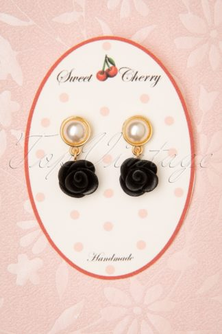 50s Pearl Rose Earrings in Black and Gold