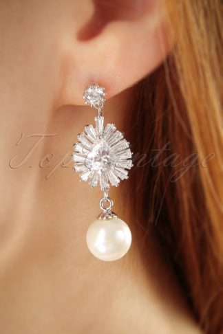 50s Pearl and Jewel Earrings in Silver
