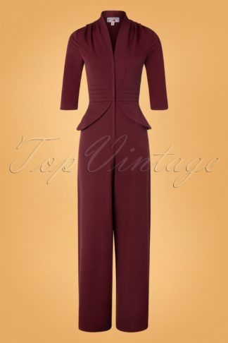 50s Penelope Peplum Jumpsuit in Wine
