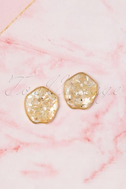 50s Perida Stud Earrings in Gold