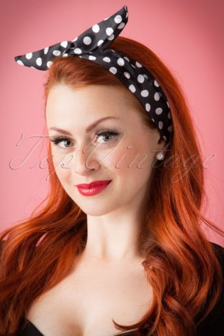 50s Pin-Up Hair Scarf Black Polkadot