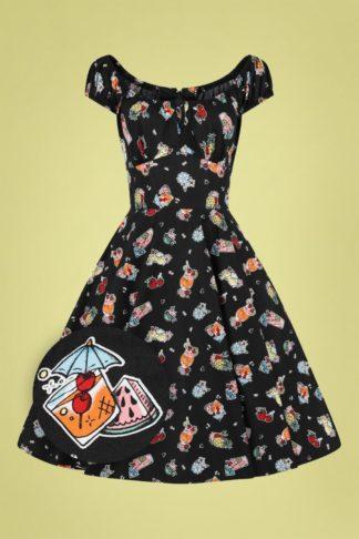 50s Pina Colada Swing Dress in Black