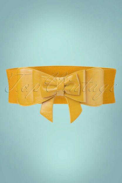 50s Play It Right Bow Belt in Mustard