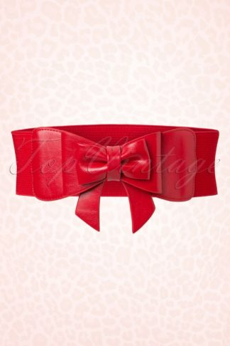 50s Play It Right Bow Belt in Red