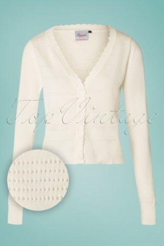 50s Pointelle Cardigan in Cream