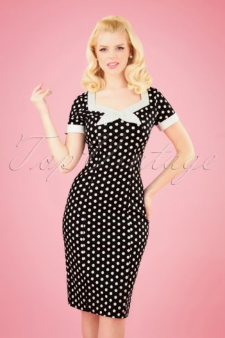 50s Polka Love Wiggle Dress in Black
