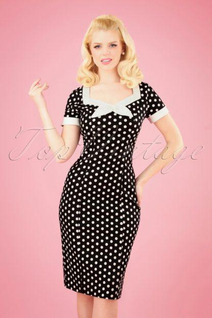 50s Polka Love Wiggle Dress in Black