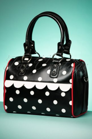 50s Polkadot Crazy Handbag in Black