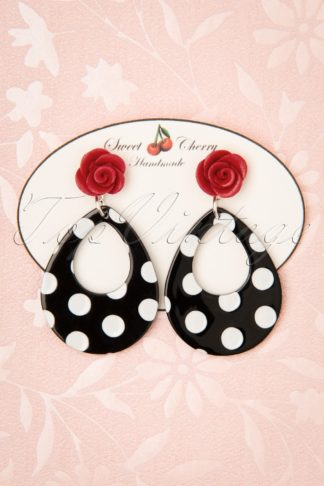 50s Polkadot Rose Drop Earrings in Black