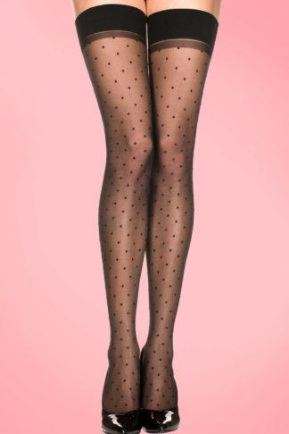 50s Polkadot Stockings in Black