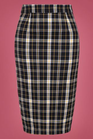 50s Polly Geek Check Pencil Skirt in Black and Yellow