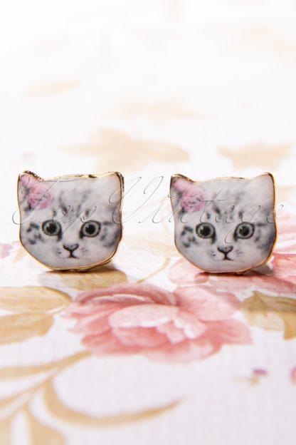 50s Pretty Cat Stud Earrings in Grey