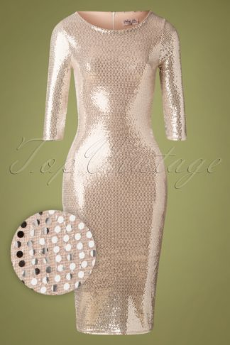 50s Prissy Party Pencil Dress in Champagne and Silver