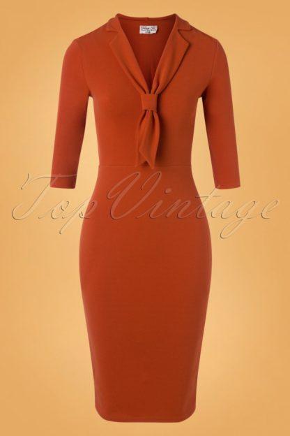 50s Quinn Pencil Dress in Cinnamon