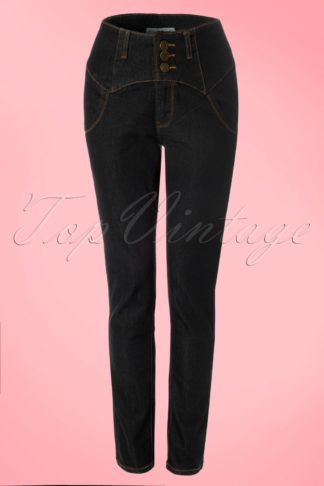 50s Rebel Kate High Waist Denim Pants in Black