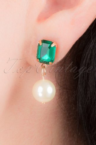 50s Regal Stone and Pearl Earrings in Emerald Green