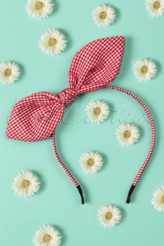 50s Riley Hair Band in Red and White