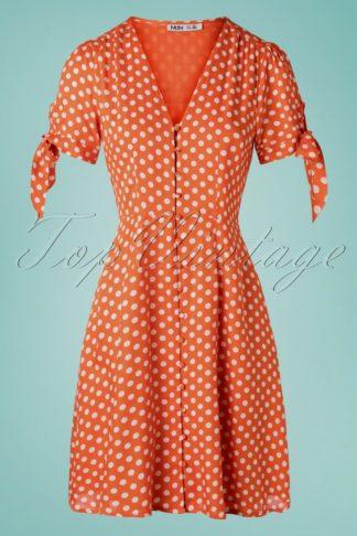 50s Riley Polkadot Dress in Orange
