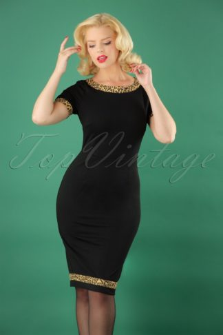 50s Rock N Roll Leopard Wiggle Dress in Black