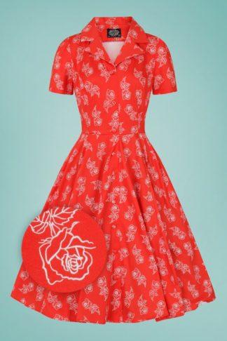 50s Ruby Rose Swing Dress in Red