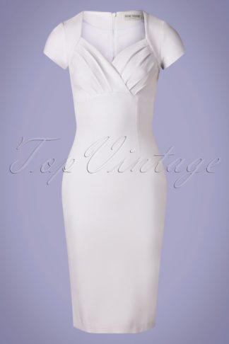 50s Sadie Pencil Dress in White