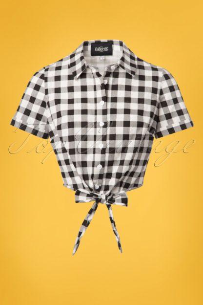 50s Sammy Vintage Gingham Tie Blouse in Black