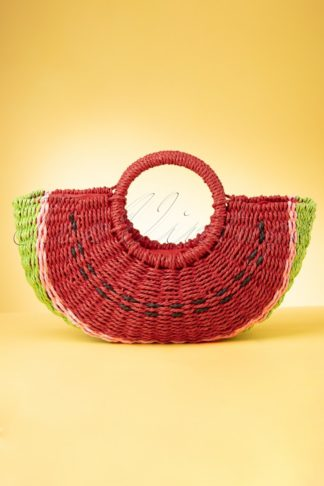 50s Sandia Watermelon Straw Bag in Red