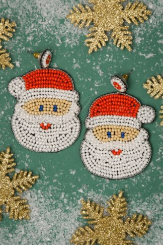 50s Santa Earrings in White and Red