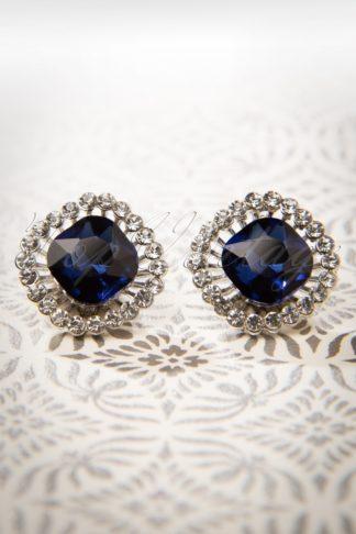 50s Sapphire Stud Earrings in Silver