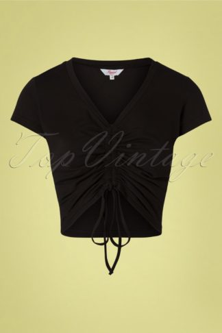 50s Scrunch Up Drawstring Top in Black