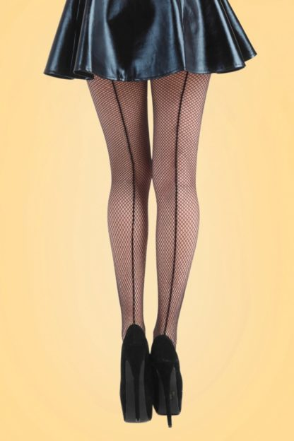 50s Seamed Fishnet Tights in Black