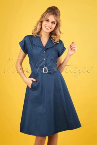 50s Seaside Diner Dress in Chambray Blue