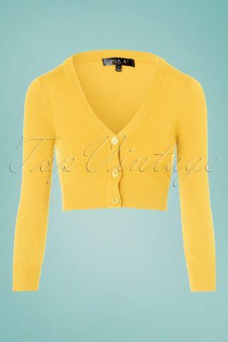 50s Shela Cropped Cardigan in Custard Yellow