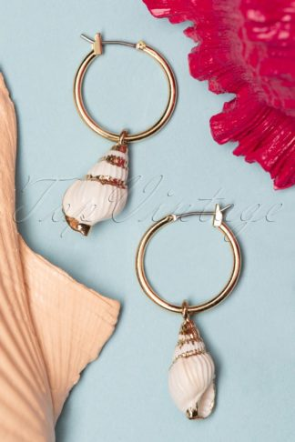 50s Shell We Dance Earrings in Gold and White