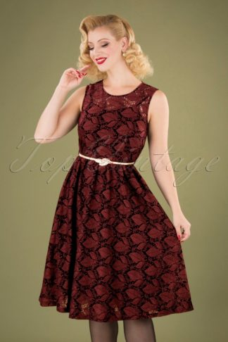 50s Sophia Autumn Overlay Dress in Burgundy