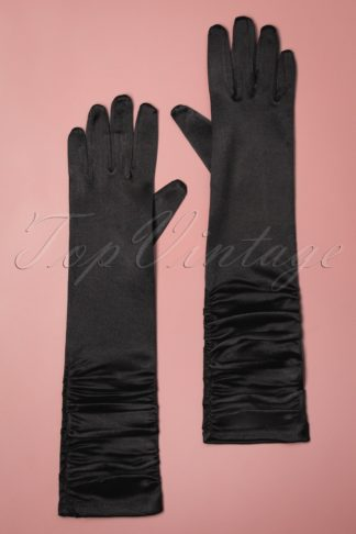 50s Sophia Black Satin Gloves