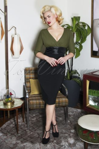 50s Sophia Pencil Dress in Green and Black