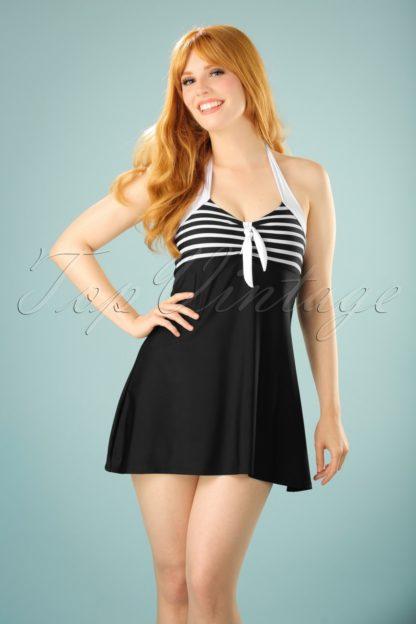 50s Sophia Striped Swimdress in Black