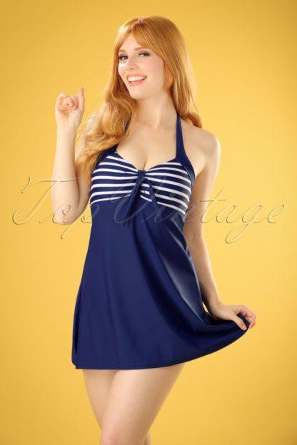 50s Sophia Striped Swimdress in Blue