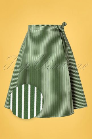 50s Stripes And Ripe Wrap Swing Skirt in Green