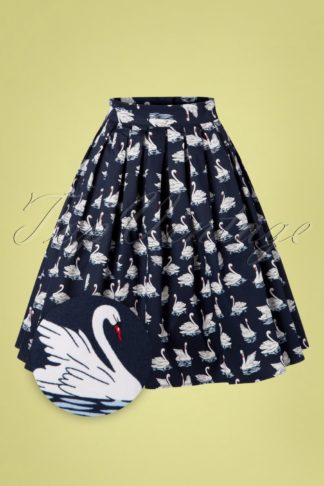 50s Summer Swan Pleated Swing Skirt in Navy