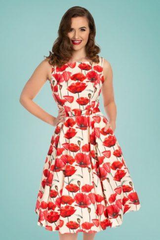 50s Sweet Poppy Swing Dress in Cream