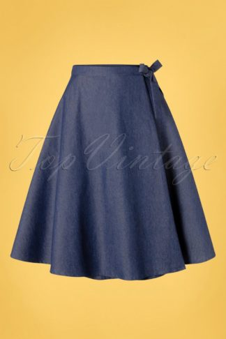 50s Sweet Sail Wrap Swing Skirt in Denim Blue